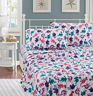 Better Home Style Multicolor Pink Blue Purple Dinosaurs Design for Girls/Kids/Teens 3 Piece Sheet Set with Pillowcase Flat and Fitted Sheets # Dinosaur Land Pink (Twin)