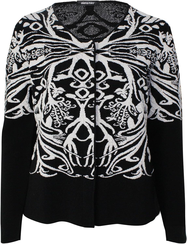 Elena Miro Womens Printed Sweater Coat Plus Size Black White Large, Extra Large