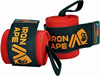 "IRON APE Extra Stiff 18"" Powerlifting Wrist Wraps for Weight Lifting, and Bodybuilding. New Dual Thumb Loop Design, for Men and Women, Weightlifting Wrist Support"