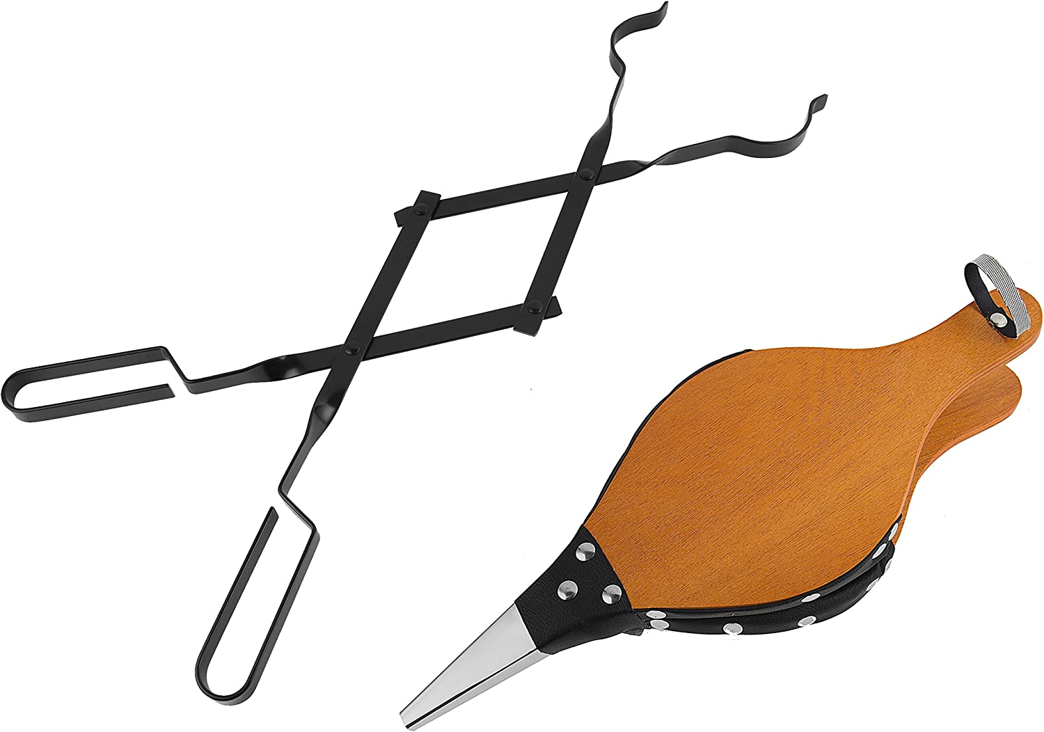 Tampa Mall Cheap mail order sales 26-Inch Campfire Fireplace Tongs Leat Wood Bellows and