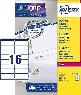 Avery España L7162-100 - Pack de 100 folios de etiquetas para correspondencia y envío, 99.1 x 33.9 mm, color blanco
