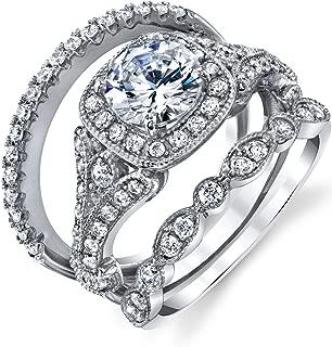 Sterling Silver 925 Vintage Engagement Rings Wedding Band Bridal Set Round-cut Cubic Zirconia 3pcs