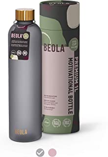 BEOLA 1L Motivational Water Bottle with Time Markers, Tritan Plastic, BPA FREE Leak Proof and Drop Resistant, 32oz