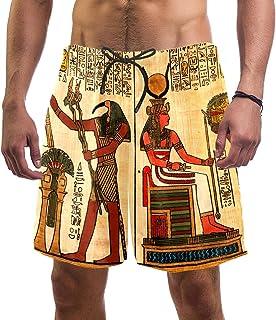 henghenghaha Mens Swim Shorts Waterproof Quick Dry Beach Shorts with Mesh Lining,Ancient Egypt