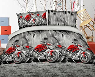 HIG Vivid 3D Bed Sheet Set Sport Bike Motorcycle Besides Mountain Road Print in Queen King Size - Wrinkle Free, Fade Resistant, Ultra Soft (King, MOTORCYCLE-Y48)