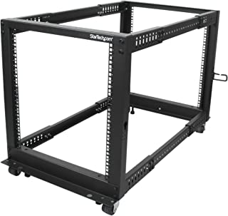 StarTech.com 12U Open Frame Server Rack - Adjustable Depth - 4-Post Data Rack - w/ Casters/Levelers/Cable Management Hooks (4POSTRACK12U)