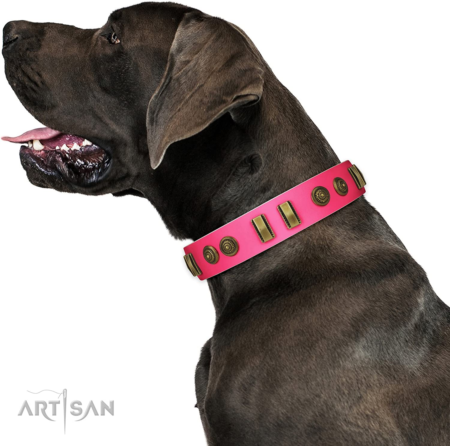 FDT Artisan 18 inch Pink Leather Dog Collar   Embossed Elegance   1 1 2 inch (40 mm) wide  Gift Box Included