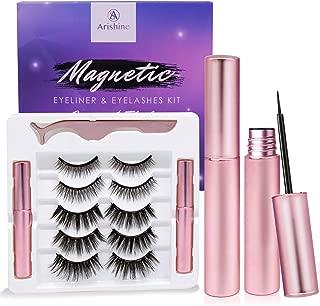 Magnetic Eyeliner and Eyelashes Kit, Magnetic Eyeliner for Magnetic Eyelashes Set, With Reusable Lashes [5 Pairs]