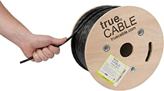 trueCABLE Cat6 Outdoor, 500ft, Waterproof, Direct Burial Rated CMX, Black, 23AWG Solid Bare Copper, 550MHz, ETL Listed, Unshielded UTP, Bulk Ethernet Cable