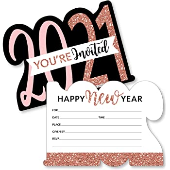 Amazon Com Big Dot Of Happiness Rose Gold Happy New Year Shaped Fill In Invitations 2021 New Year S Eve Party Invitation Cards With Envelopes Set Of 12 Kitchen Dining
