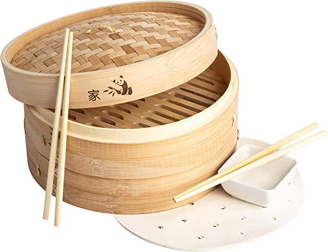 Prime Home Direct 10 inch Bamboo Steamer Basket, 2 Tier Food Steamer, Natural Bamboo Dumpling Steamer with Lid contains 2 Pair of Chopsticks, 1 Sauce Dish & 50 Wax Papers Liners - Steam Cooker