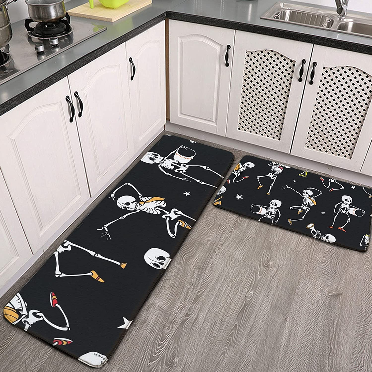 OcuteO Colorado Springs Mall Kitchen Rugs and Mats Set Fort Worth Mall Black And Piece Dancing Dark 2