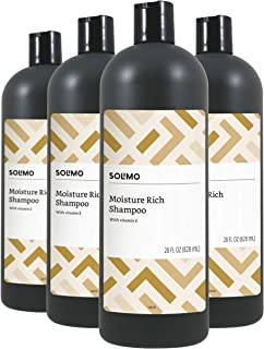 Amazon Brand - Solimo Moisture Rich Shampoo, 28 Fluid Ounce (Pack of 4)