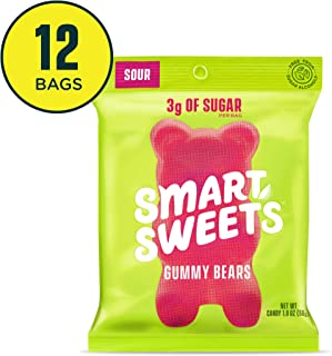 SmartSweets Gummy Bears Sour 1.8 Oz Bags (Box Of 12), Candy With Low-Sugar (3g) & Low Calorie (90)- Free of Sugar Alcohols & No Artificial Sweeteners, Sweetened With Stevia