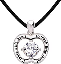 "ALOV Jewelry Sterling Silver ""It takes a big heart to teach little minds"" Cubic Zirconia Apple Pendant Necklace for Teacher"