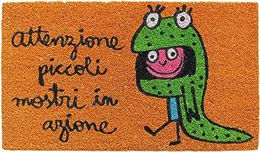 Laroom Felpudo diseño Attenzione Piccoli Mostri In Azione, Jute & Base Antideslizante, Naranja, 40x70x1.8 cm
