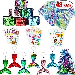 Danirora Mermaid Party Favors, [48 Pack]Mermaid Keychains for Kids Birthday Party Supplies Goodie Bag Fillers Carnival Pri...
