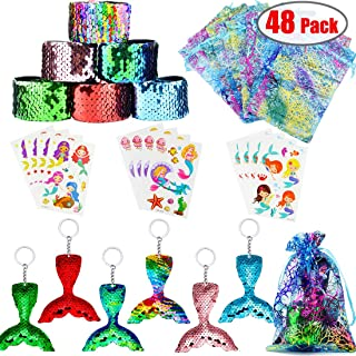 Danirora Mermaid Party Favors, [48 Pack]Mermaid Keychains for Kids Birthday Party Supplies Goodie Bag Fillers Carnival Prize for 12 Girls