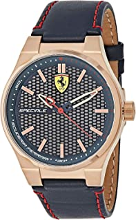 Ferrari Speciale Men's Black & Silver Dial Leather Band Watch - 830382