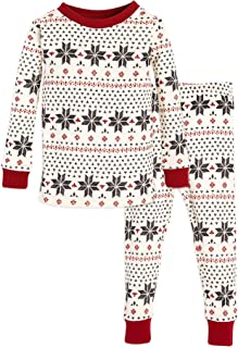 Burt's Bees Baby Baby Toddler & Kids Pajamas, Tee and Pant 2-Piece PJ Set, 100% Organic Cotton, Hand Drawn Snowflakes Ivory, 24 Months