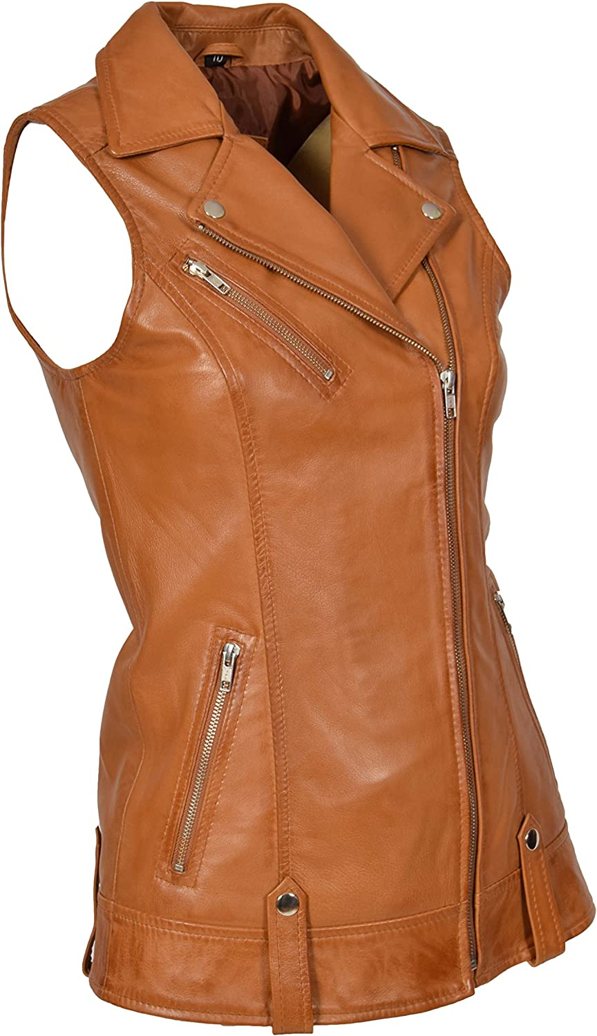 A1 FASHION GOODS Womens Real Leather Waistcoat TAN Gilet Fitted Vest Jacket Tess