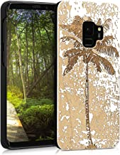 kwmobile Wood Case Compatible with Samsung Galaxy S9 - Non-Slip Natural Solid Hard Wooden Protective Cover - Vintage Palm Tree White/Brown