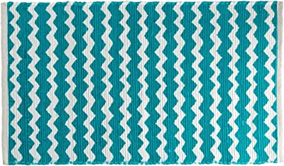 Shiraleah Chindi Recycled Cotton Floor Mat, Turquoise