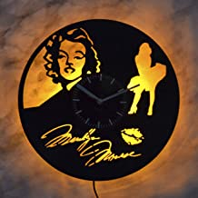 Art Finder Marilyn Monroe Yellow Led Light Vinyl Record Wall Clock - Get Unique Bedroom or livingroom Wall Decor - Gift Ideas for Boys and Girls Perfect Element of The Interior Unique Art