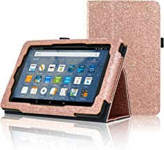 Fire 7 Tablet Case(Only Fit 5th Generation 2015 Release), ACdream Folio Stand Leather Tablet Case for Fire 7 Tablet (Old Model), (Glitter Rose Gold)