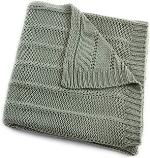 EverGrace Cozy Solid Knit Throw Blanket for Couch Chairs Bed Beach, Super Soft Throw Blanket with Cable Textured Design 50x 60 Sage