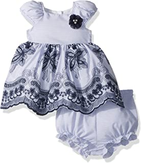 Laura Ashley London Baby Girls Puff Sleeve Dress with Embroidery