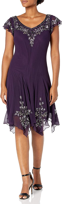 J Kara Women's Flutter Sleeve Short Cocktail Hanky Hem Beaded Dress