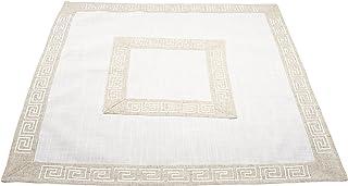 مفرش طاولة من Linens، Art and Things غطاء طاولة صغير بلون الأرض محايدة اللون اليوناني مفتاح 34 × 34 بوصة