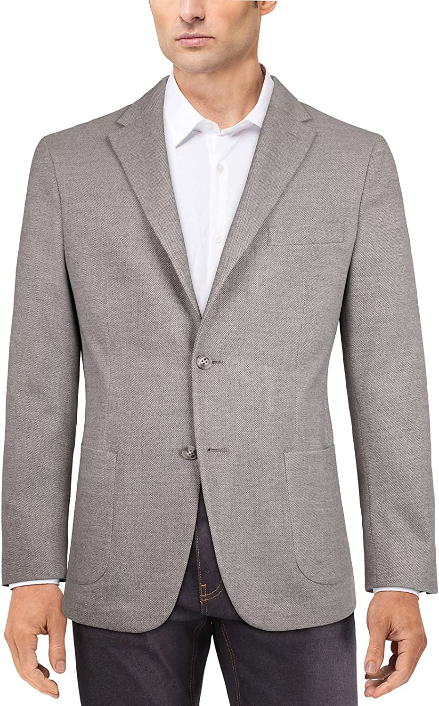 Tommy Hilfiger Mens Modern-Textured Knit Sport Coat 38R Light Grey