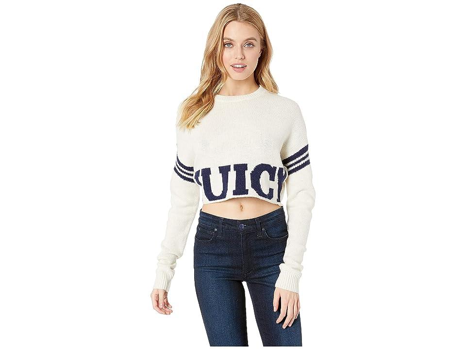 Juicy Couture Collegiate Logo Sweater with Stripe (Bleached Bone) Women