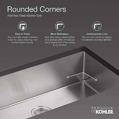 KOHLER K-5287-NA Strive 15 X 15-Inch Under-Mount Bar Sink with Basin Rack, Stainless Steel, 1-Pack