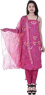 pink bandhani dress material