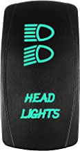 Bright Light Powersports - Laser Rocker Switch - HEADLIGHTS - Universal Off/On/On - 3 Position -12 Volt (green)