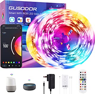Gusodor Smart WiFi Led Light Strips 65.6ft Led Lights Work with Alexa and Google Assistant Led Lights for Bedroom Music Sy...