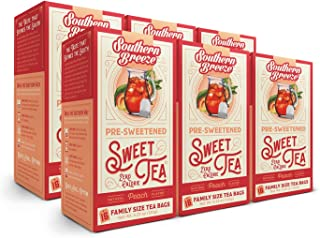 Southern Breeze Family Size Sweet Tea Bags, Peach, Zero Calories 16 Count (Pack of 6)