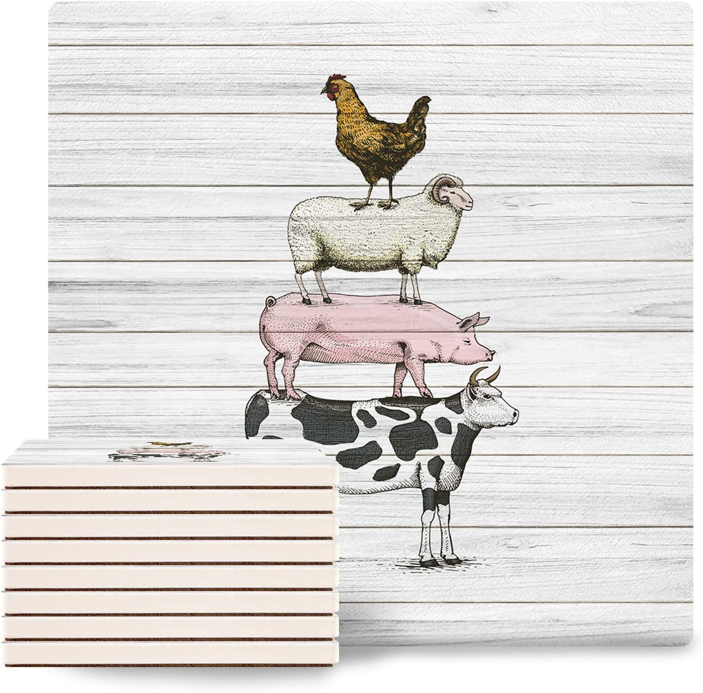 Set of 8 Farm Animal Long-awaited Coasters for Drinks Square Absorbent Ceram Max 81% OFF