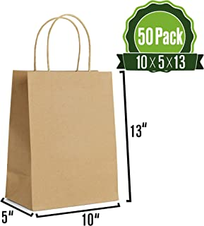 10 X 5 X 13 Kraft Paper Gift Bags Bulk with Handles [50Pc]. Ideal for Shopping, Packaging, Retail, Party, Craft, Gifts, Wedding, Recycled, Business, Goody and Merchandise Bag (Brown)
