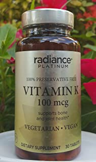 Vegan Vitamin K by Radiance Platinum (100mcg Preservative Free)