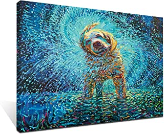 iFine Art Wall Art Inner-Framed Oil Paintings Printed on Canvas Modern Artwork for Home Decorations and Easy to Hang for Living Room, Bedroom-Labrador Jazz