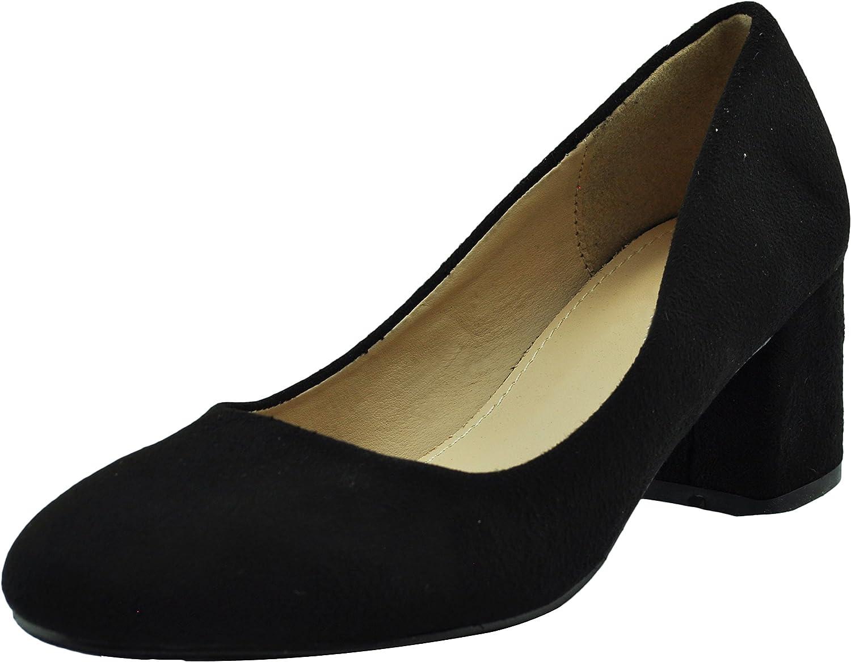 ShoBeautiful Women's Chunky Heels Pumps Slip On Block Low Heel Formal Wedding Party Simple Classic Pump SAP