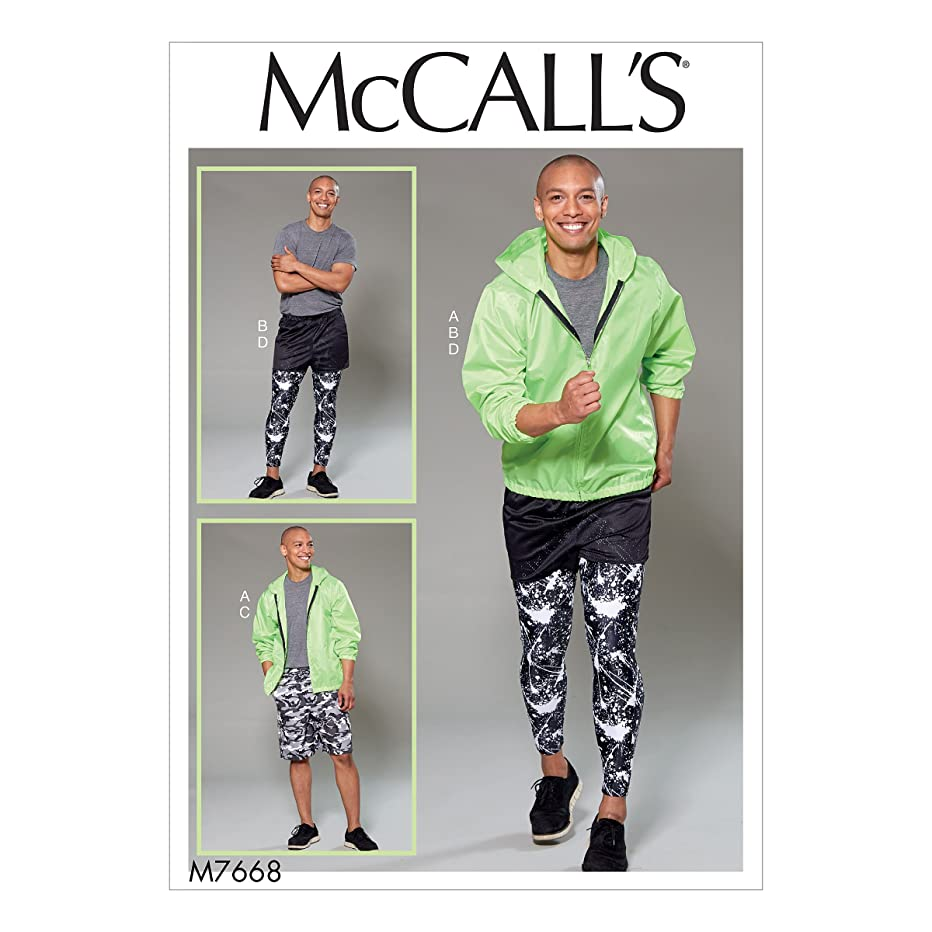 McCall's Patterns M7668 Men's Hooded Jacket, Shorts and Leggings, Size S-M-L