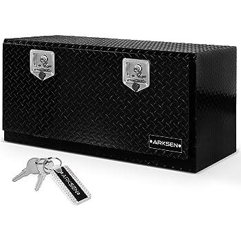 "ARKSEN 36"" Durable Aluminum Diamond Plate Tool Box With T-Handle Latch Pickup Truck Underbody Trailer Storage, Black"