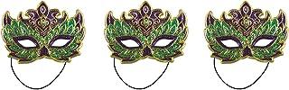 Beistle 60056 3Piece Mardi Gras Costume Masks (Green/Gold/Purple)