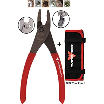 "VAMPLIERS World's Best Pliers Made by Vampire Tools VT-001-7SJ 7"" Screw Extraction Pleirs for Rusted/Stripped/Damage/Security/Specialty Screws/Nuts and Bolts Best Gift (VAMPLIERS Slip Joint+Pouch)"