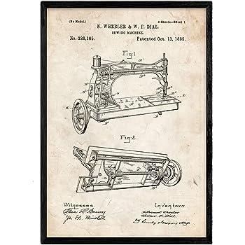 Nacnic Poster con Patente de Maquina a Vapor. Lámina con diseño de ...